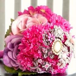 Pink Brooch Bouquet with vintage brooches, lavander, magenta and pink flowers